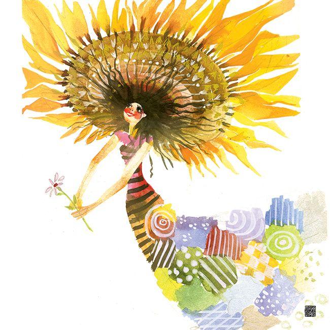Hello August - watercolor by Masha D'yans