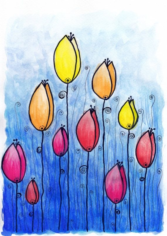 "Original Watercolor Tulips Painting - 8.3x11.7"" (A4) Wall Decor, Watercolor Art - One of a Kind on Etsy, $35.00"