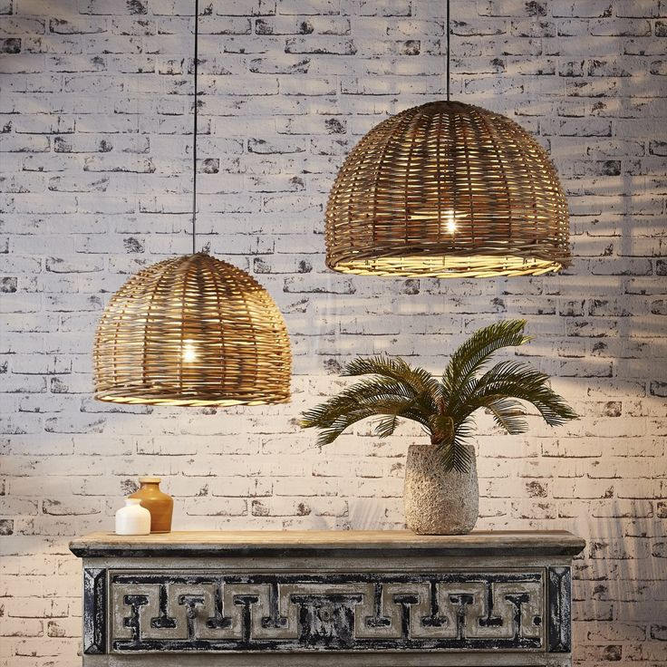 Cane pendant lights adding beautiful curves and natural tones