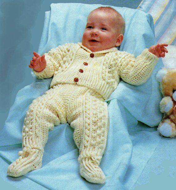 Baby Crochet Pattern Crochet Aran Baby by VintageNeedleArts