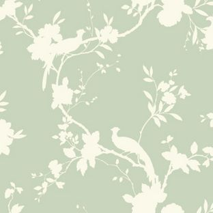 Opera Chinoise Shadow Wallpaper - Sage from Homebase.co.uk