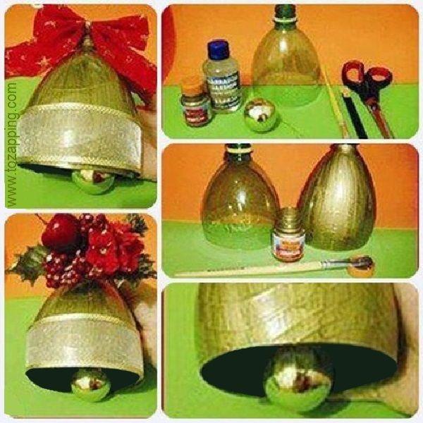 Campanas con botellas recicladas adornos navidad para el for Navidad adornos manualidades navidenas