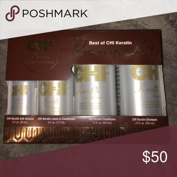 NIB CHI Keratin set shampoo conditioner, infusion NIB Best of CHI keratin Revamp Kit. Comes with 12oz shampoo and conditioner, 6oz leave in conditioner, and 2oz keratin silk infusion CHI Makeup