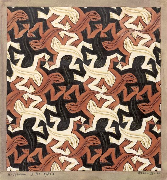 Alternating Rhythm - The the twisting of the shapes in this tessellation along with the rotation of the colors creates an alternating rhythm.