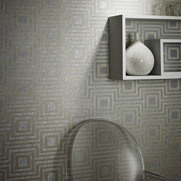 Srebrna tapeta z geometrycznym ornamentem Art - Deco / Silver wallpaper with geometric ornament Art - Deco
