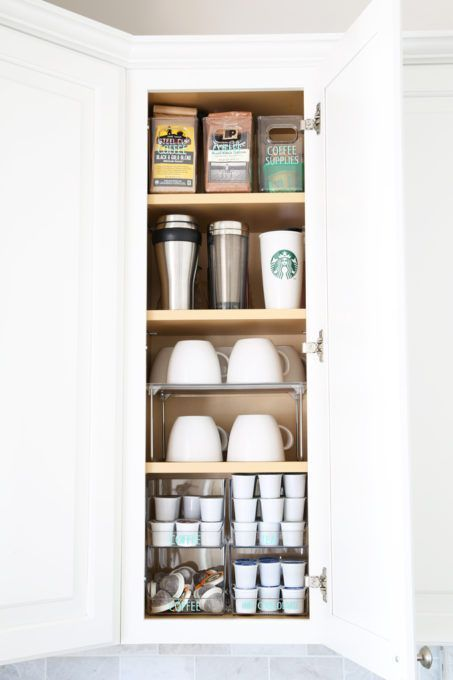 Home Organization- Beautifully Organized Coffee Station, Smoothie Station, kitchen organization, organized kitchen, coffee bar, coffee cabinet, smoothie bar, smoothie cabinet, InterDesign, organizing, acrylic containers, declutter, decluttering, neat and tidy kitchen, storing coffee supplies