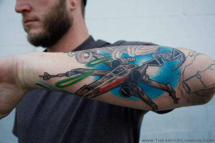 X-Wing fighter from star wars tattoo