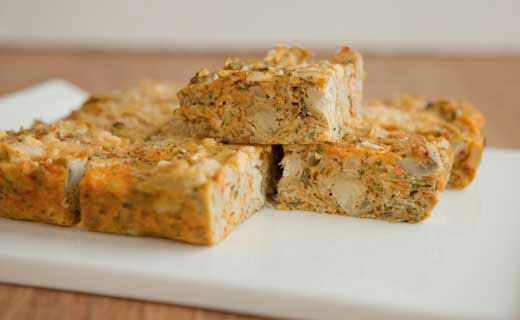 Cut small squares for appetizers or larger squares to serve with salad as a quick lunch.http://julievanghel.myepicure.com/