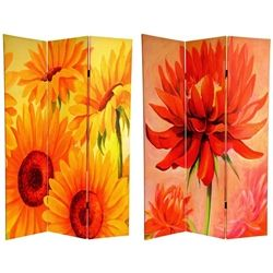 6 ft. Tall Double Sided Poppies and Sunflowers Room Divider