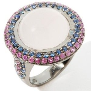 Carlo Viani 1.06ct Rose Quartz and Sapphire Plated Sterling Silver Ring at HSN.com