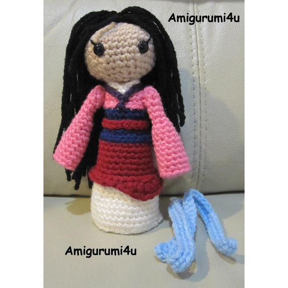 Amigurumi Disney Princess : Mulan Disney Princess Handmade Amigurumi Crochet Doll by ...