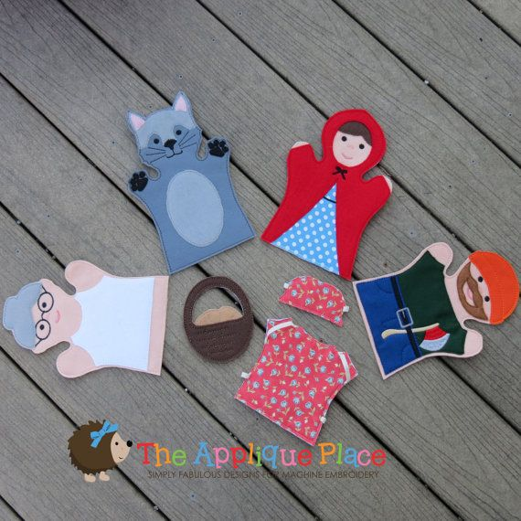 Set of 4 --- LiTTLe ReD RiDiNG HooD --- *** Finger Puppets *** In The Hoop Machine Embroidery Applique Designs