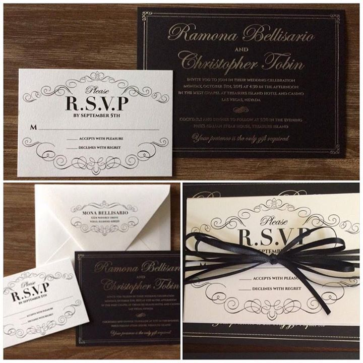 how much do invitations for wedding cost%0A We are so proud of this unique silver foil on black  wedding invitation  design by
