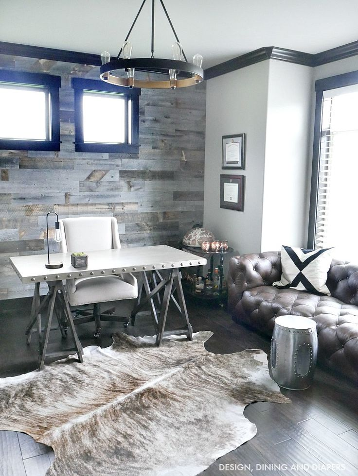 Industrial Modern Rustic Office home decor. So beautiful! Love the grey tones.