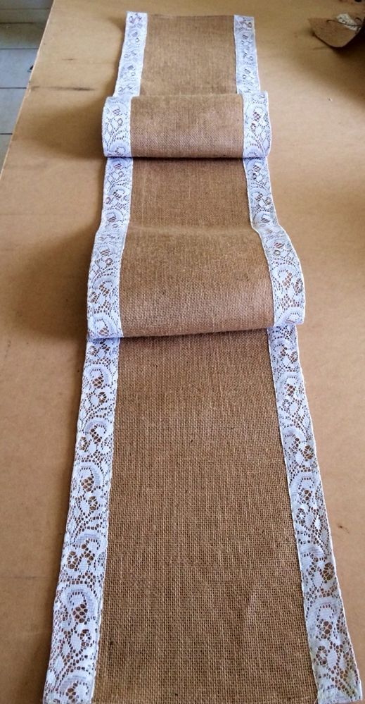 Table Runner Lace & Hessian Burlap Country Wedding Vintage Rustic Mat