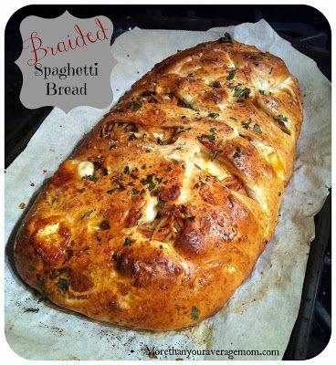 More than your average mom: {RECIPE} Braided Spaghetti Bread. So easy and SO delicious!