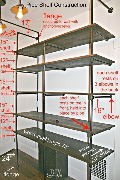 DIY pipe shelf construction standard sizes of pipes 12,18,24, pole thru boards