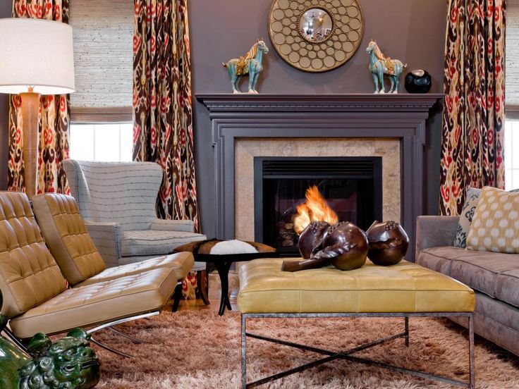 Decorations Blue Living Room Ideas With Cozy Fireplace Also Brown Leather  Sofa With Beautiful Yellow Table Plus White Cosy Lamp Shade Together Modern  ... Part 96