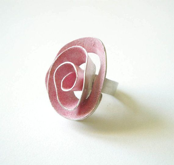 big pink rose sterling silver statement ring by katerinaki1977