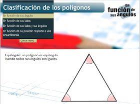 Recurso online que permite trabajar la clasificación de los polígonos según diferentes aspectos como los ángulos, los lados, ambos o tam...