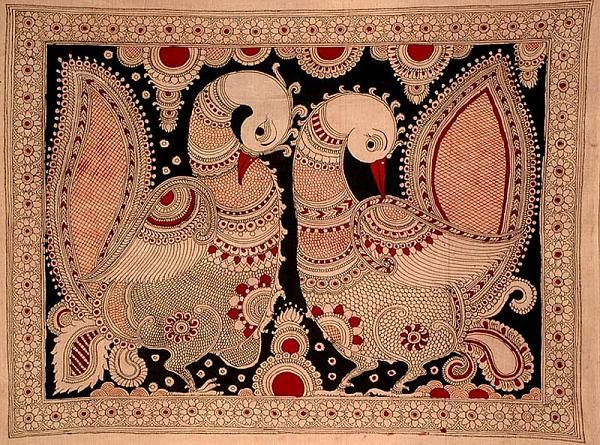 Indian Painting Styles...Kalamkari Paintings (Andhra Pradesh)-peacock1-5-.jpg