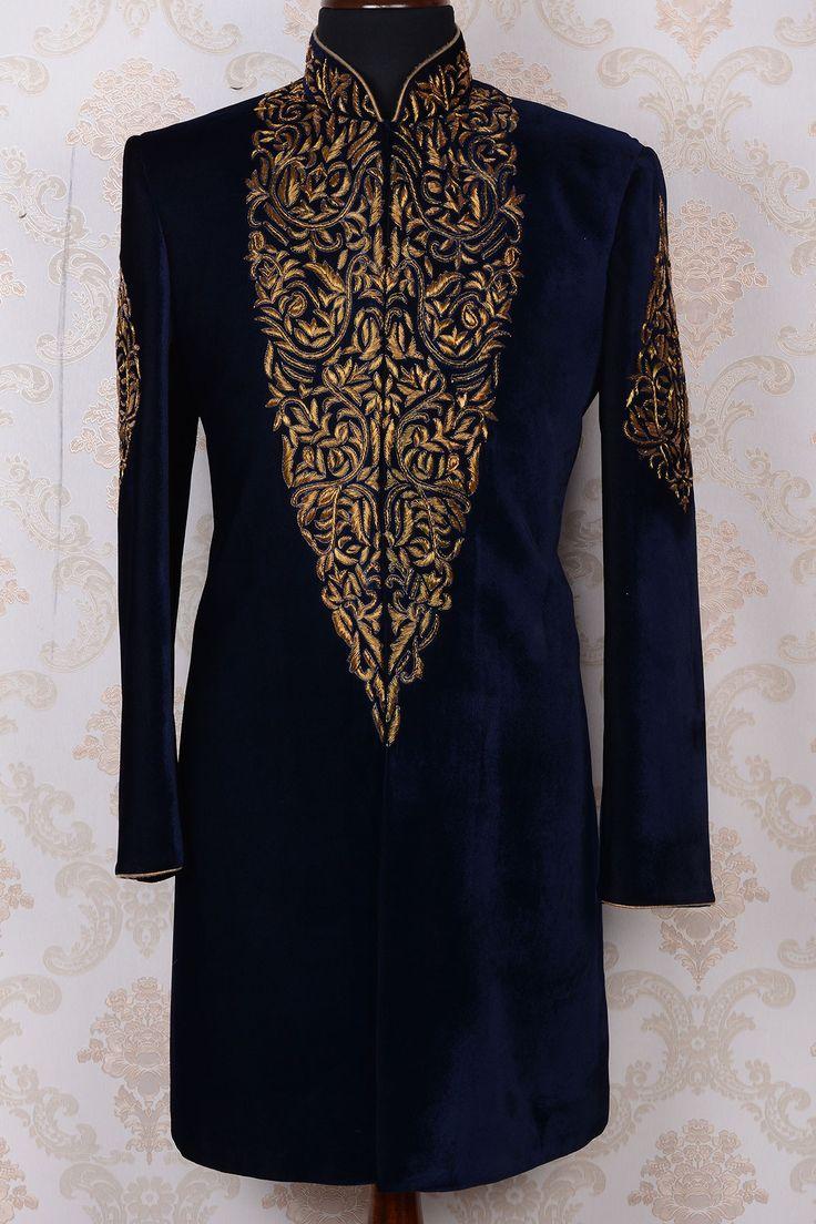 Ink blue & gold pure velvet royal indo western sherwani-IW369 - IndoWestern Sherwani/Achkans - Sherwani - Men's Wear