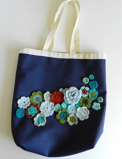 Embellish a canvas bag with crochet. Great idea! I would definitely sew on rather than use toxic glue.