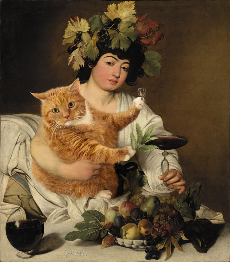 Caravaggio, Bacchus: Wine vs Catnip  This genius artist photoshopped her tubby kitty into a ton of famous art. I love it!