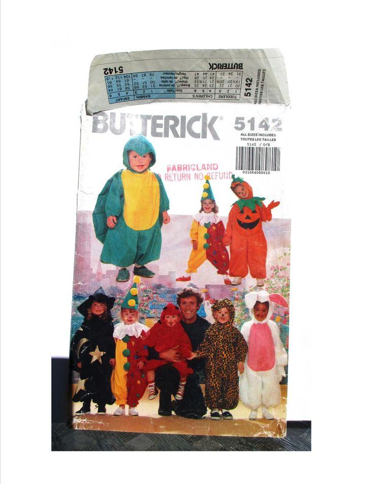 Halloween Costume Pattern Butterick 5142 Dinosaur Clown Jack O Lantern Witch Leopard Rabbit Pumpkin Wizard Devil Child Size 1 2 3 4 5 6 Easy by RuthsGreenTreasures on Etsy