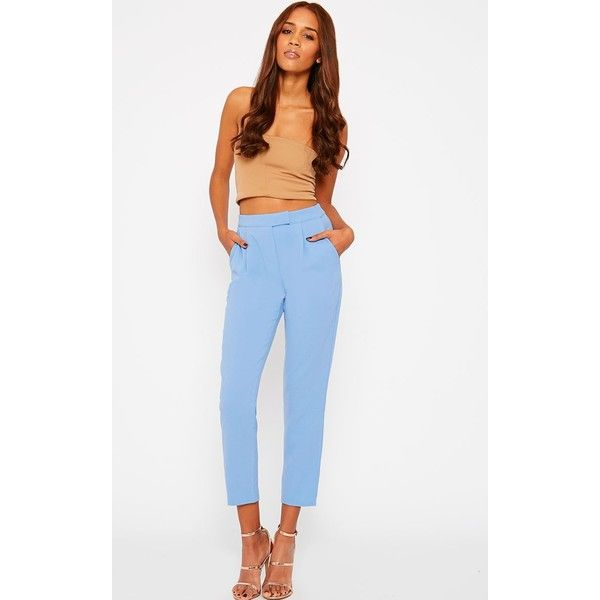 Iris Blue Cigarette Trousers-4 ($18) ❤ liked on Polyvore featuring pants, blue, blue pants, white trousers, white cigarette pants, cigarette trousers and tailored pants