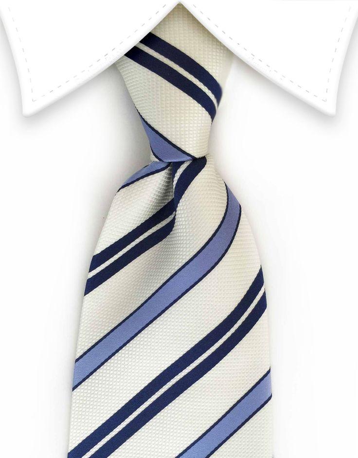 Navy, Blue & Pearl Striped Tie