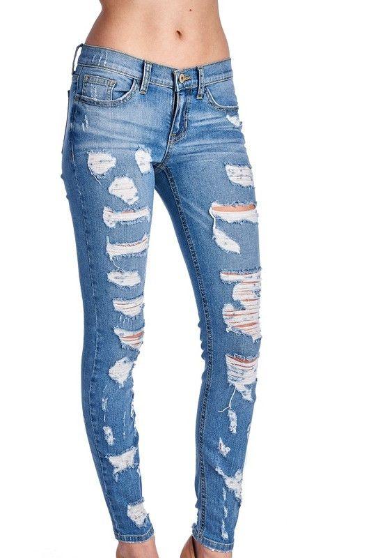 Distressed Light Skinny Jeans
