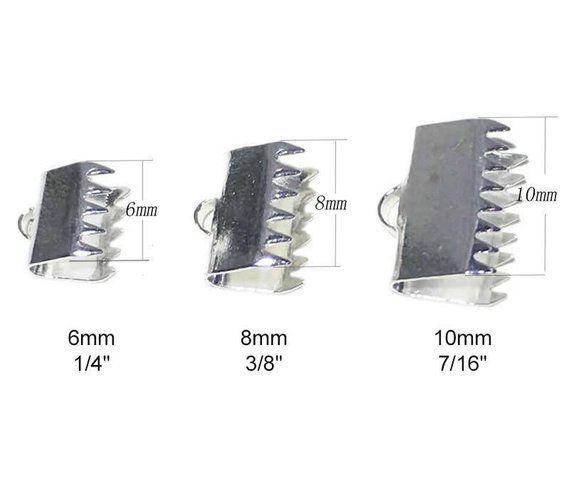 Pure 925 Sterling Silver Ribbon Clip Clamp Cord Crimp End Cap Tip