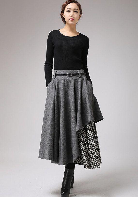 gray wool skirt winter skirt layered long skirt 720 von xiaolizi