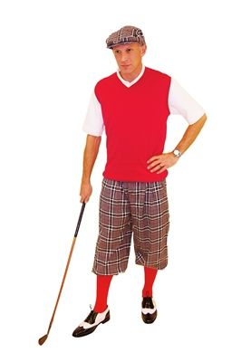 Traditional grey plaid golf knickers and cap are complemented by the rich red sweater and socks.  A classic complete golf knickers outfit.