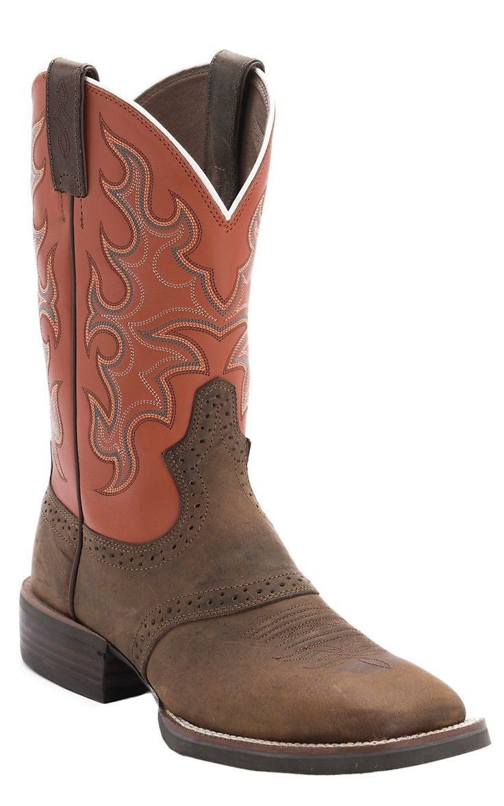Justin® Men's Silver Collection Brown Buffalo with Orange Top Double Welt Saddle Vamp Square Toe Cowboy Boots