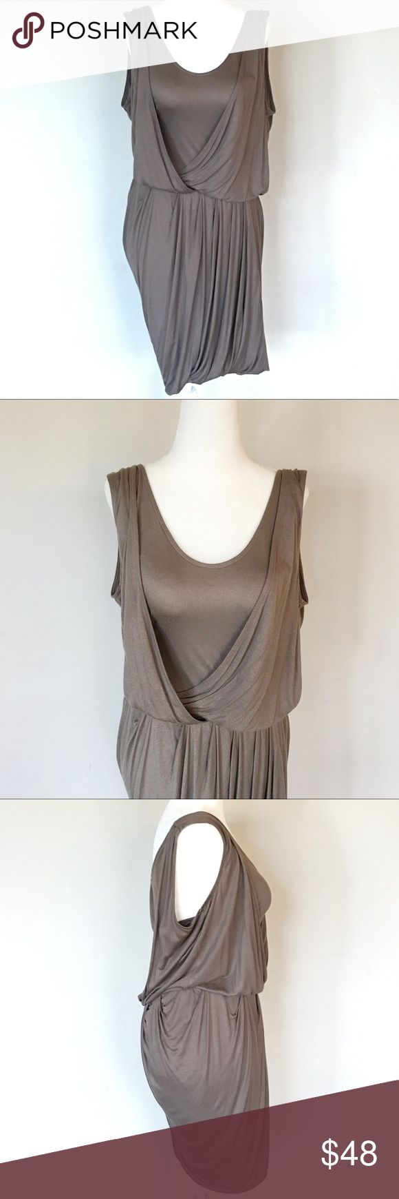 Banana Republic Drape Wrap Front Dress Beautiful Banana Republic draped front dress with polyester mesh lining olive/taupe color- best depicted in 1st photo. Top of shoulder to bottom hem measures approximately 36 inches armpit to armpit measures approximately 16 inches. Banana Republic Dresses