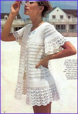 Crochê Saída de Praia com Gráfico: Cover Up, Crochet Clothes, Beach Cover, Crochet Patterns, Crochet Tops, Crochet Clothing