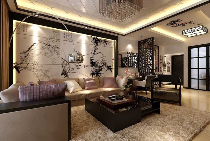 Drawing Room Painting Idea with Chinese Style Wall Art