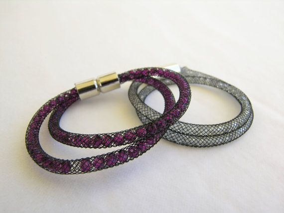 https://www.etsy.com/listing/218961739/black-mesh-double-bracelet-purple