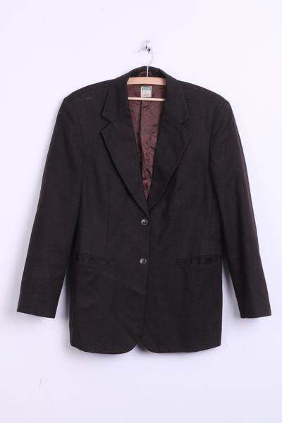 United Colors of Benetton Womens 48 XL Blazer Top Suit Dark Brown Wool Top - RetrospectClothes
