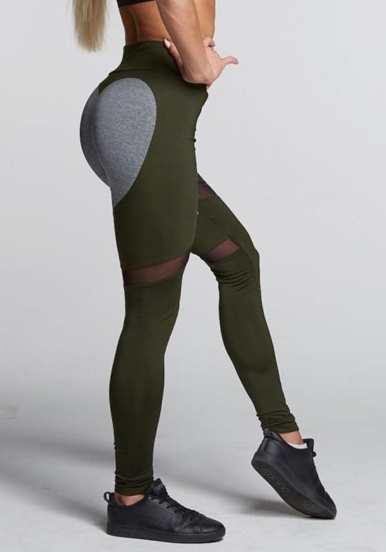 f6ee8e1376269 Green Patchwork Grenadine Heart Print Sports Yoga Long Legging | my ...