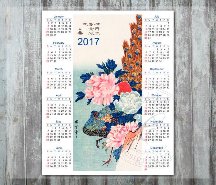 "2017 Printable DIY Year Calendar Japanese watercolor Peacock Asian Flower, Bird wall art 8x10"" Digital Calendar, Oriental painting (C002-17) by collageva on Etsy"