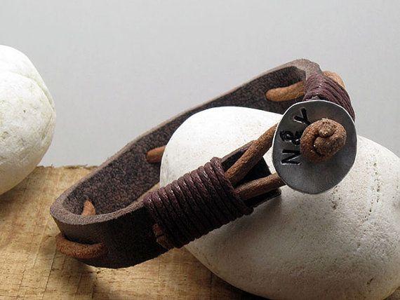Bracelet homme en cuir bracelet personnalisé en par echoleathers