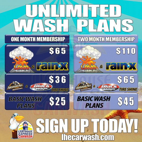 Unlimited Car Washes Clean Club   Lighthouse Express Car Wash