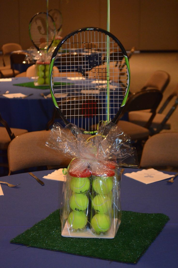 Tennis Centerpiece By Ideal Party Decorators Www.idealpartydecorators.com