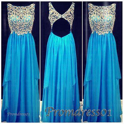 2015 cute rhinestones beaded open back sparkly blue chiffon long prom dress for teens, ball gown, evening dress, junior prom dress, homecoming dress from #promdress01 www.promdress01.com