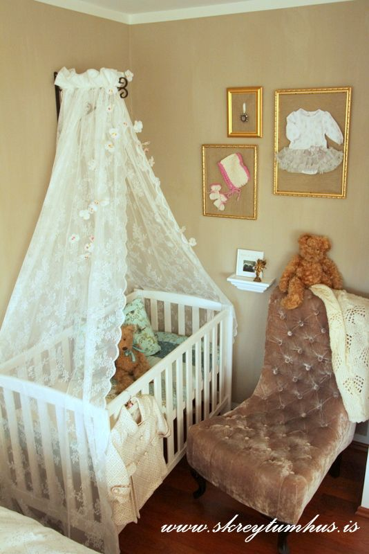 I am going to attempt to do this in new baby's room. Lacy curtain canopy  over crib | Baby Girl | Pinterest | Canopy, Room and Nursery