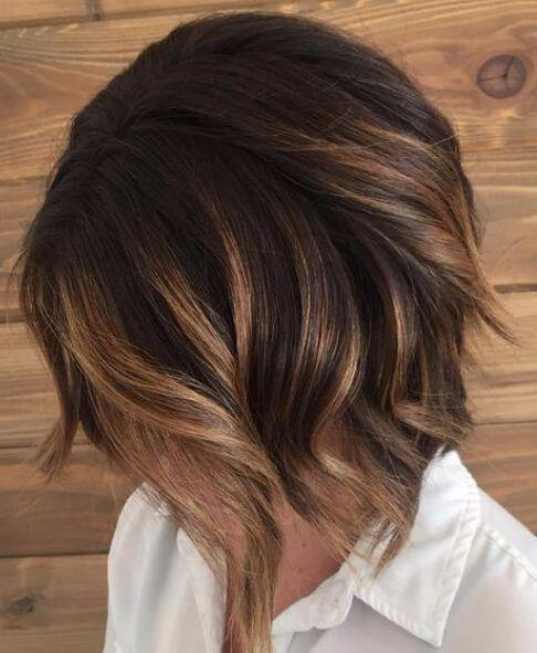 balayage short hair caramel brunette balayage bob with dark spot root