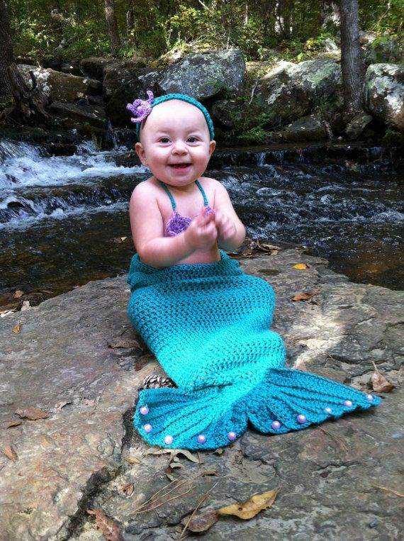 Crochet Mermaid Set https://www.etsy.com/listing/200965174/baby-crocheted-mermaid-outfit-baby #mermaid #baby #photoprop